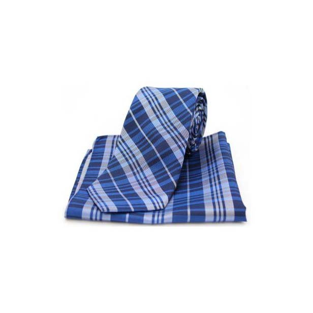 Blue Tartan Pattern Matching Silk Tie and Pocket Square