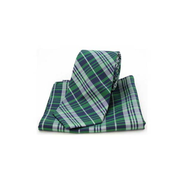 Green Tartan Pattern Matching Silk Tie and Pocket Square