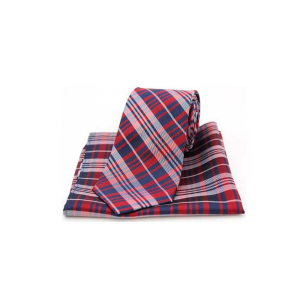 Red Tartan Pattern Matching Silk Tie and Pocket Square