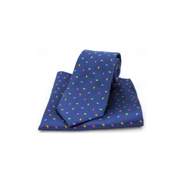 Multi Coloured Small Rectangle on Navy Silk Matching Tie and Pocket Square