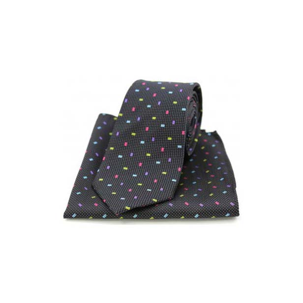 Multi Coloured Small Rectangle on Black Silk Matching Tie and Pocket Square