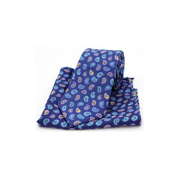 Multi Coloured Teardrop Paisley on Navy Silk Tie and Pocket Square