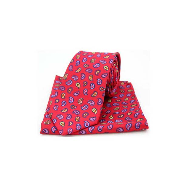 Multi Coloured Teardrop Paisley on Red Silk Tie and Pocket