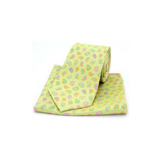 Multi Coloured Teardrop Paisley on Lime Green Silk Tie and Pocket