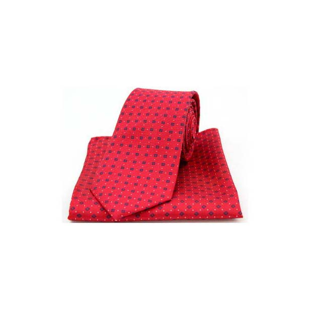 Neat Navy Box Pattern on Red Silk Matching Tie and Pocket Square