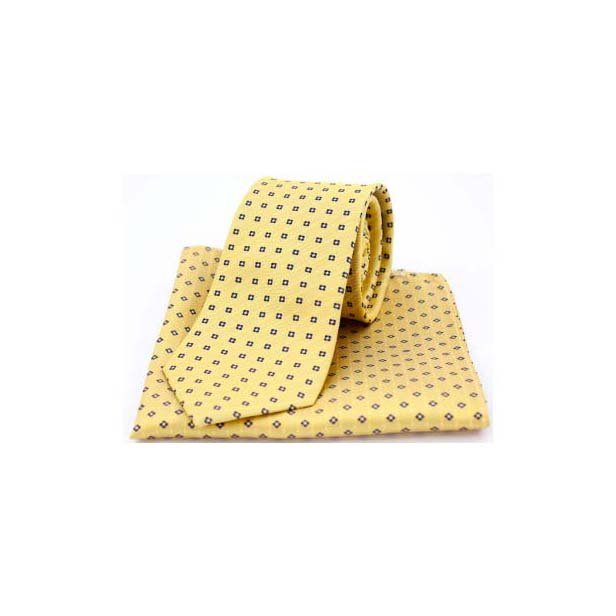 Neat Navy Box Pattern on Mustard Silk Matching Tie and Pocket Square