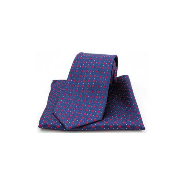 Neat Red Box Pattern on Navy Silk Matching Tie and Pocket Square