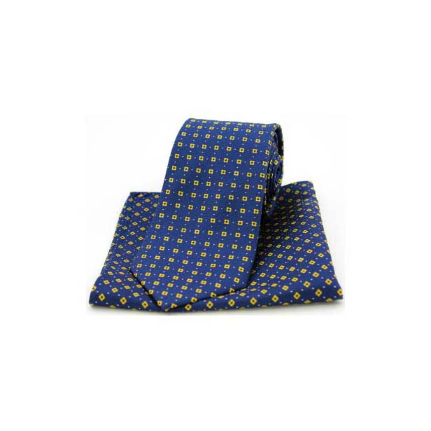 Neat Yellow Box Pattern on Navy Silk Matching Tie and Pocket Square