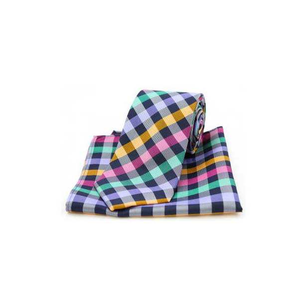 Multi Coloured Checks on Black Silk Matching Tie and Pocket Square