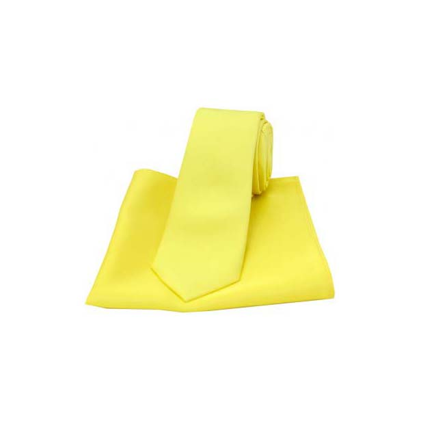 Canary Yellow Plain Silk Thin Tie and Pocket Square