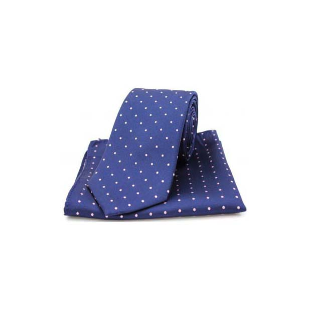 Blue and Pink Polka Dot Silk Matching Tie and Pocket Square