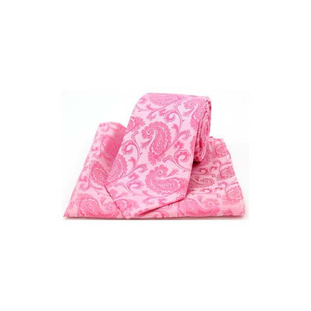 Fuchsia Silk Paisley Print Tie and Pocket Square