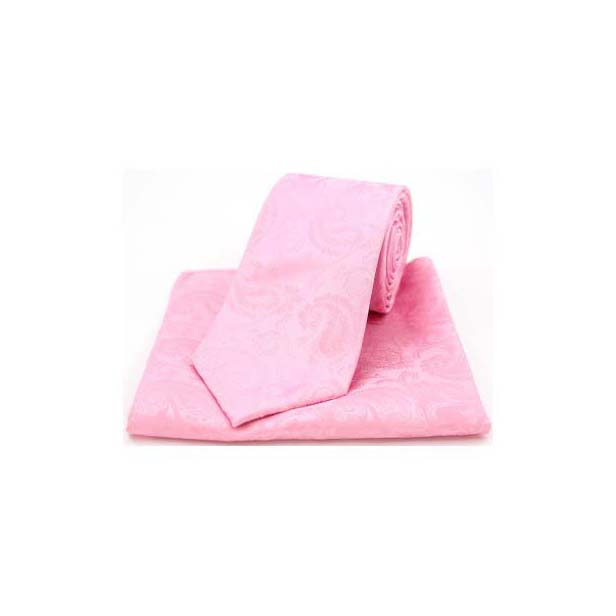 Baby Pink Silk Paisley Print Tie and Pocket Square