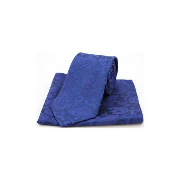 Royal Blue Silk Paisley Print Tie and Pocket Square