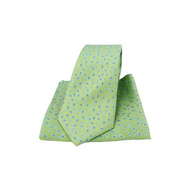 Lime Green Silk Paisley Print Tie and Pocket Square
