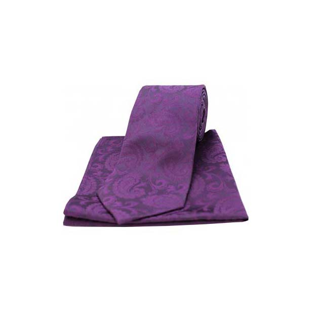 Purple Silk Paisley Print Tie and Pocket Square