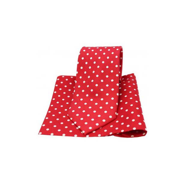 Red with White Polka Dot Matching Silk Tie and Pocket Square