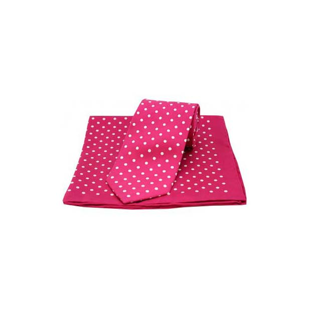 Fuchsia with White Polka Dot Matching Silk Tie and Pocket Square