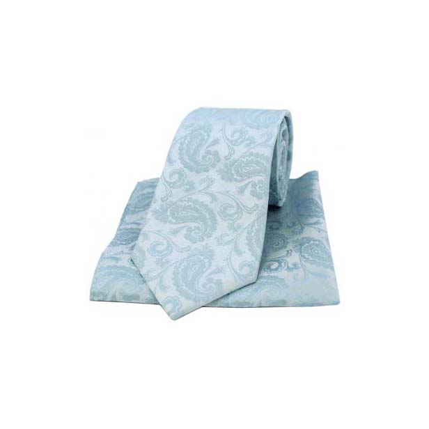 Light Duck Egg Blue Silk Paisley Print Tie and Pocket Square