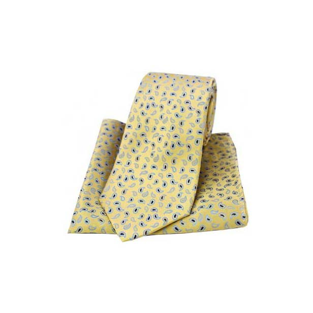 Yellow Woven Silk with Small Paisley Print Tie and Pocket Square