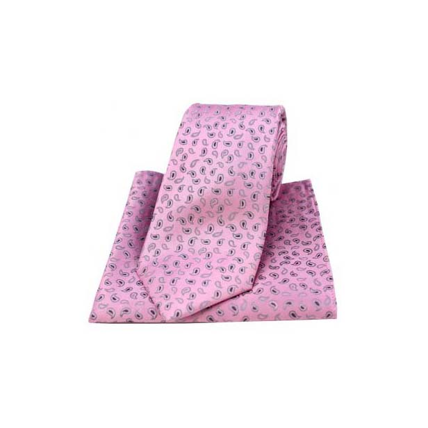 Pink Woven Silk with Small Paisley Print Tie and Pocket Square