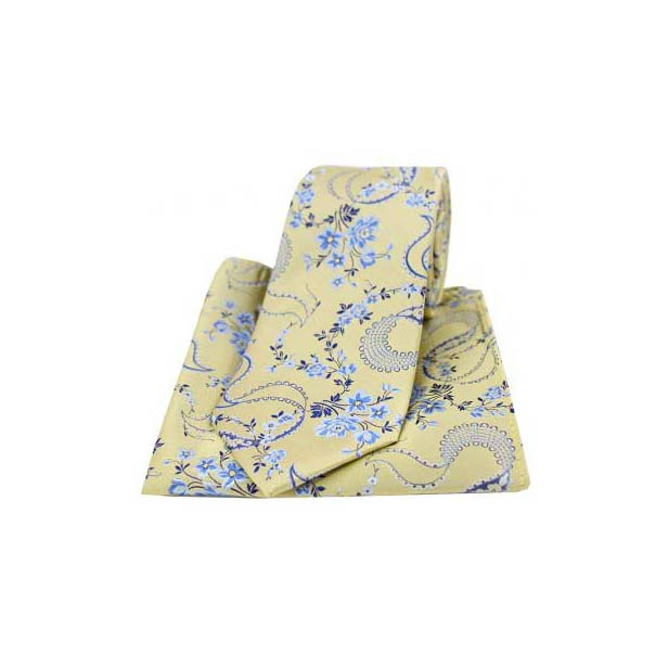 Gold Silk with Floral Pattern Tie and Pocket Square