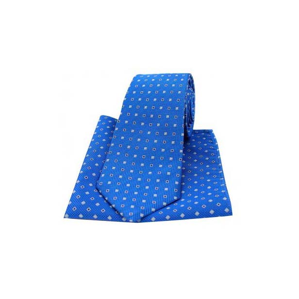 Royal Blue Small Squares Silk Matching Tie and Pocket Square