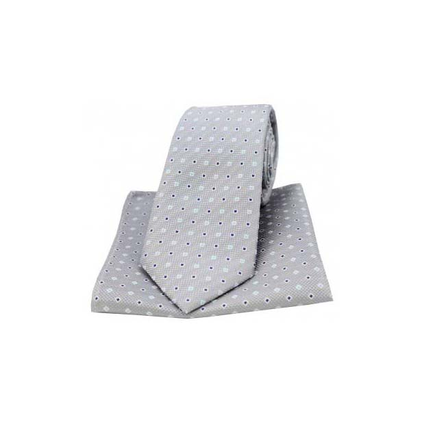 Grey Small Squares Silk Matching Tie and Pocket Square