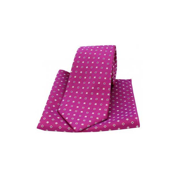 Fuchsia Small Squares Silk Matching Tie and Pocket Square