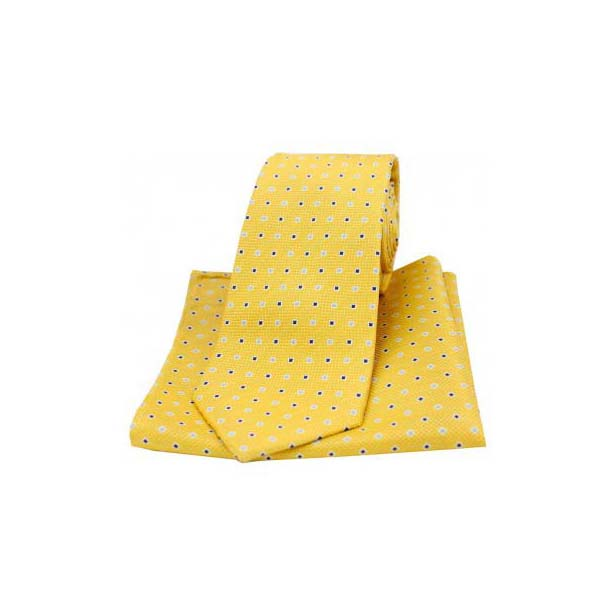 Gold Small Squares Silk Matching Tie and Pocket Square