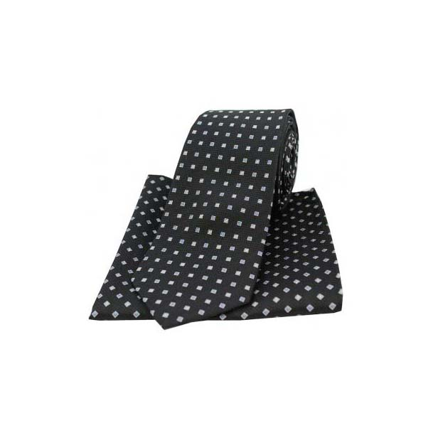 Black Small Squares Silk Matching Tie and Pocket Square