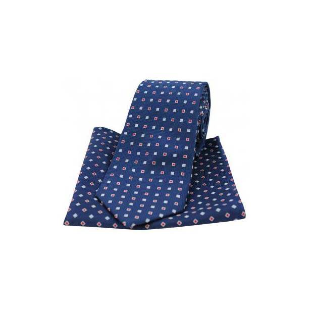 Navy Small Squares Silk Matching Tie and Pocket Square