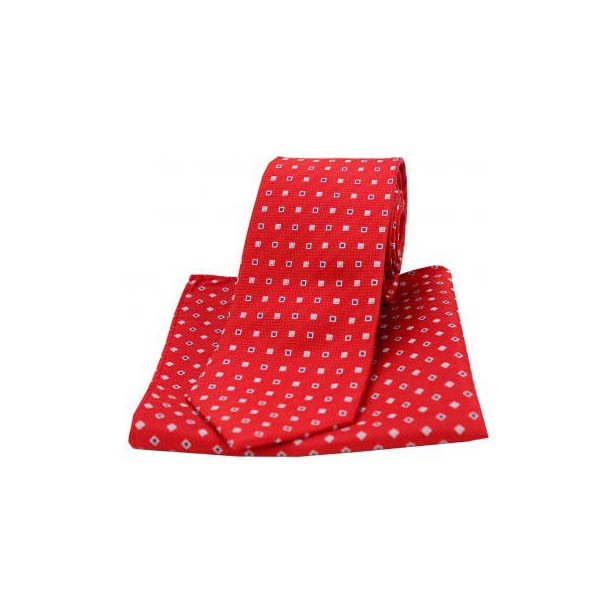 Red Small Squares Silk Matching Tie and Pocket Square
