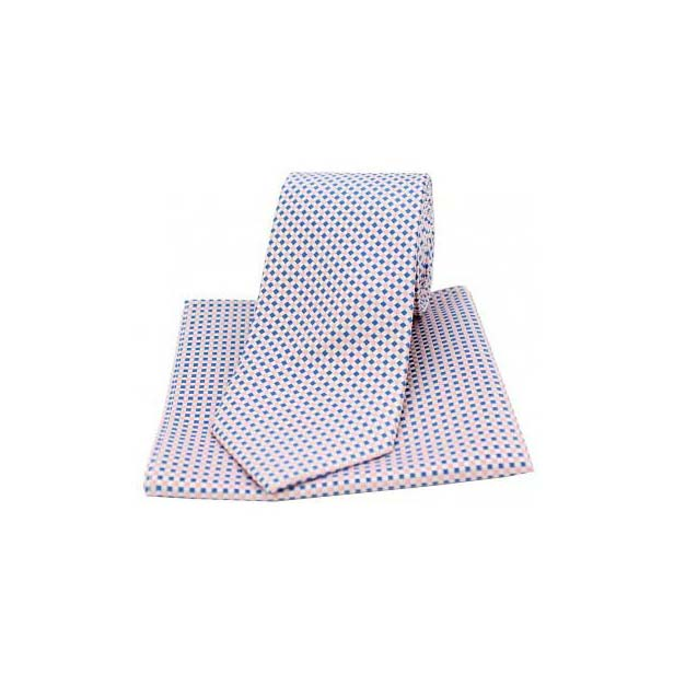 Neat Checked Sky Blue and Pink Silk Matching Tie and Pocket Square