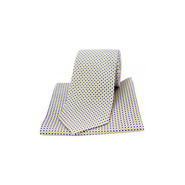 Neat Checked Sky Blue and Gold Silk Matching Tie and Pocket Square