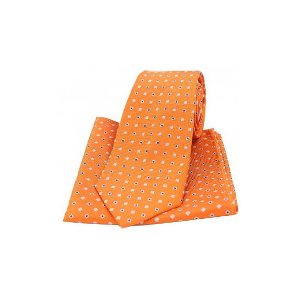 Orange Small Squares Silk Matching Tie and Pocket Square