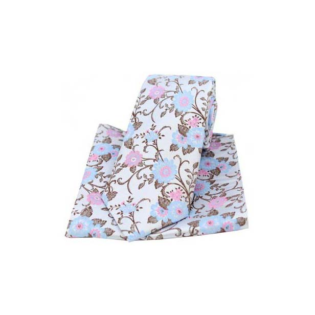 Silver Silk with Pink and Blue Flowers Tie and Pocket Square