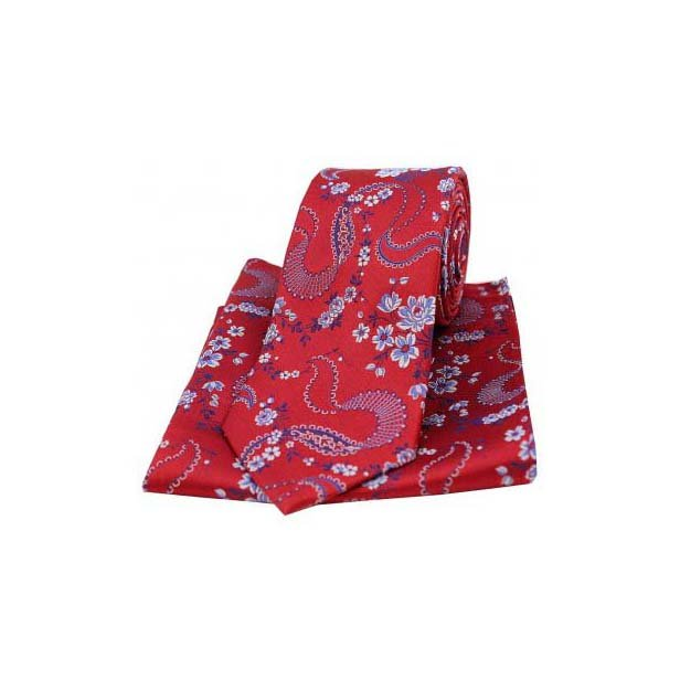 Red Woven Silk with Floral Pattern Tie and Pocket Square