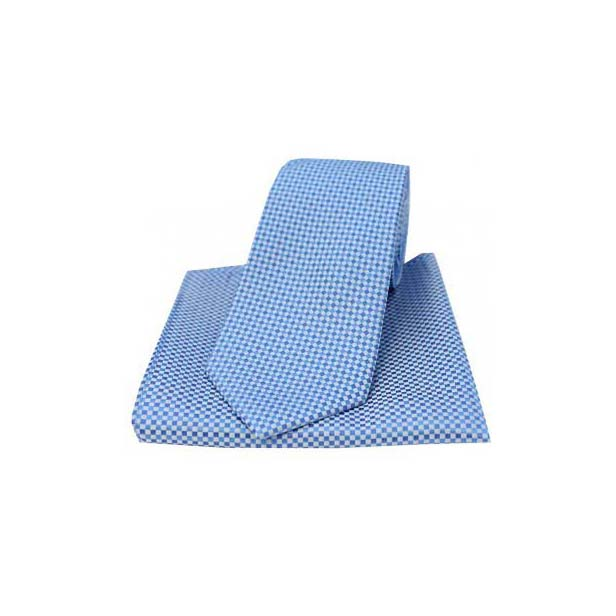 Blue Woven Silk Textured Check Pattern Tie and Pocket Square