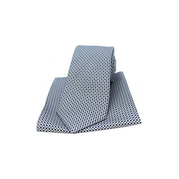 Silver and Grey Neat Checked Silk Matching Tie and Pocket Square