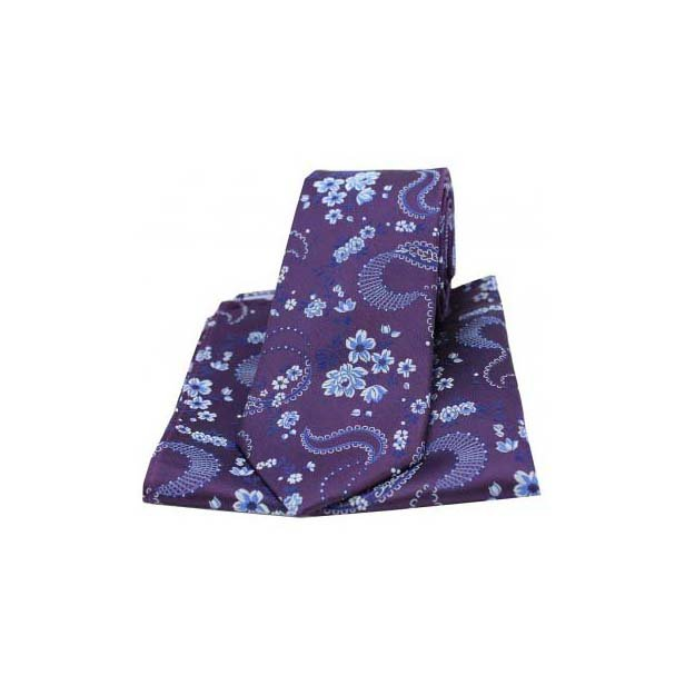 Purple Woven Silk with Flower Pattern Tie and Pocket Square