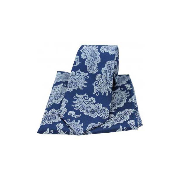 Navy Floral Woven Silk Matching Tie and Pocket Square