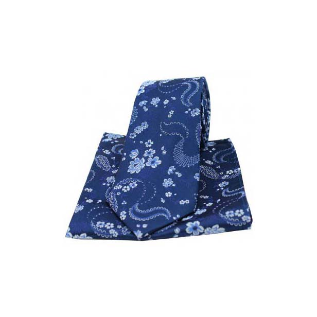 Navy Woven Silk with Floral Pattern Tie and Pocket Square