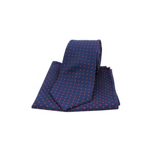 Navy and Red Pin Dot Woven Silk Matching Tie and Pocket Square