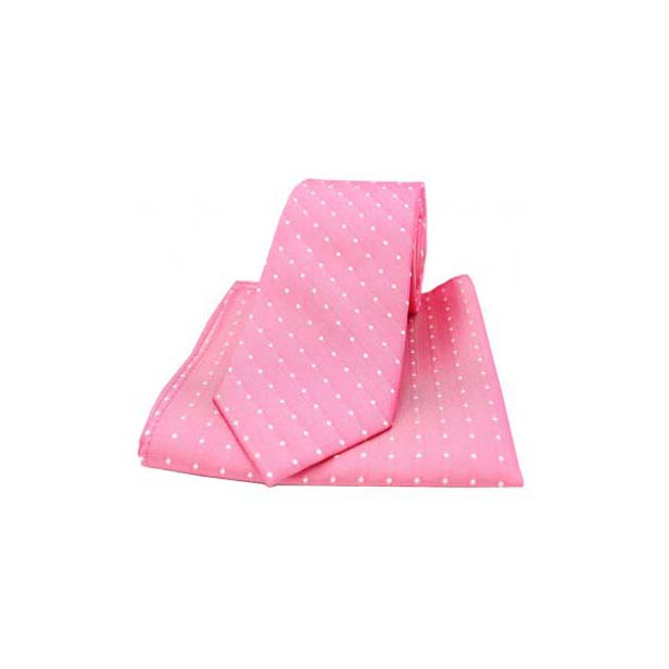 Pink and White Pin Dot Woven Silk Matching Tie and Pocket Square