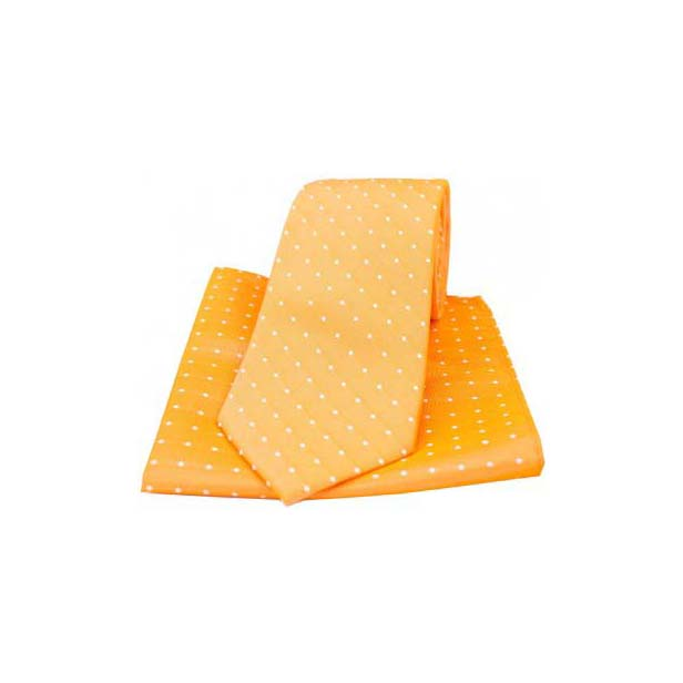 Orange and White Pin Dots Matching Tie and Pocket Square
