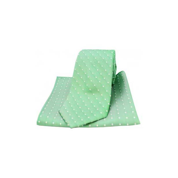 Emerald Green and White Pin Dot Silk Matching Tie and Pocket Square