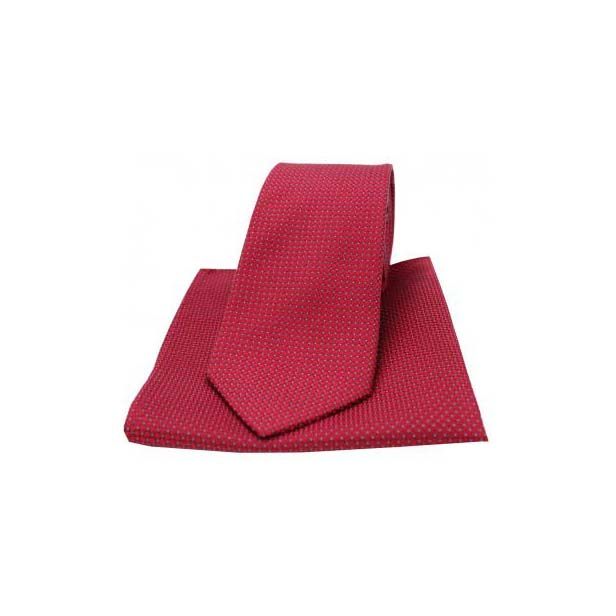 Wine Silk Plain Box Weave Pattern Tie and Pocket Square