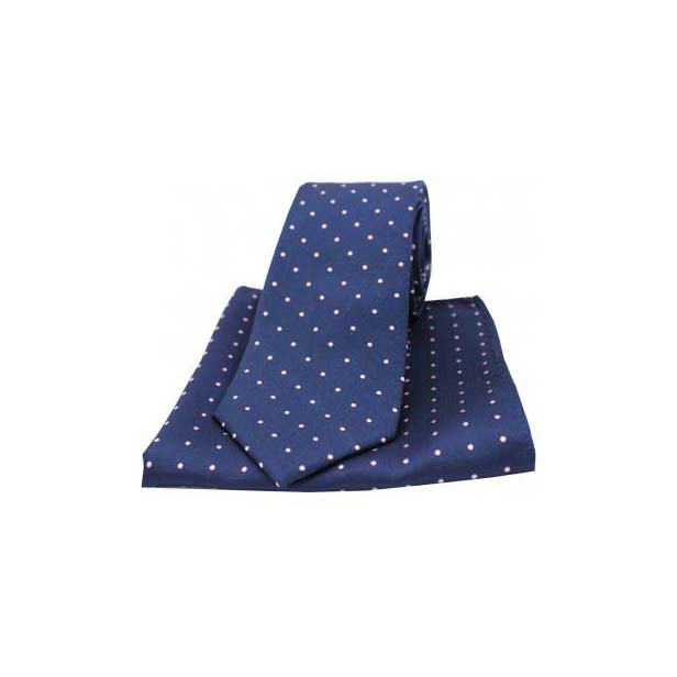 Pink and Navy Pin Dot Woven Silk Matching Tie and Pocket Square