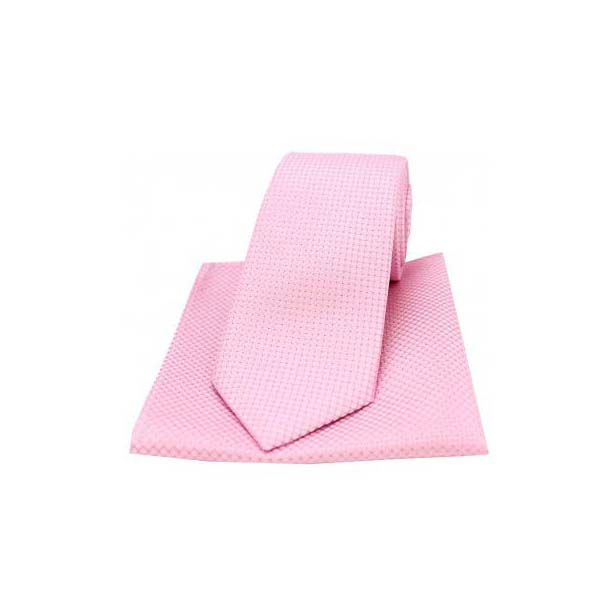 Pink Silk Plain Box Weave Pattern Tie and Pocket Square